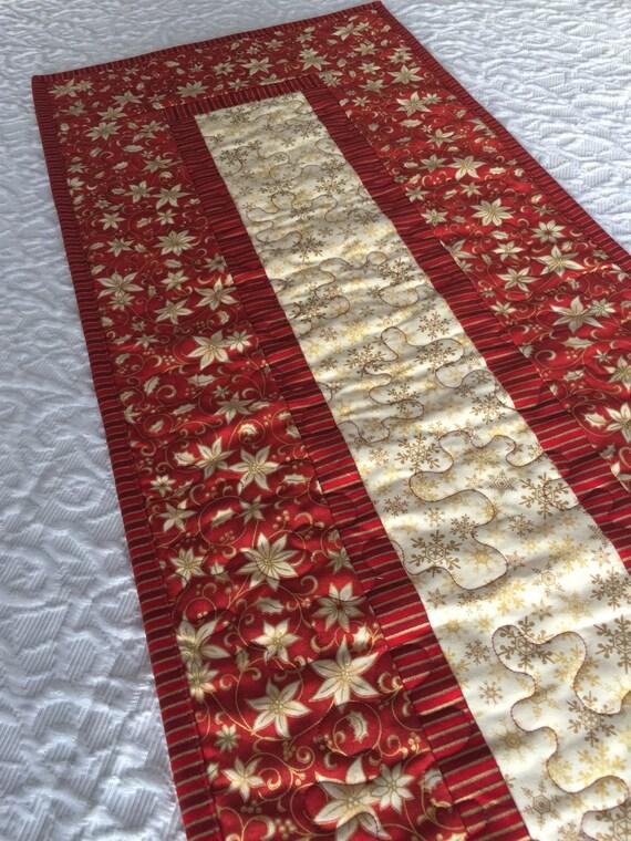 Christmas Table Runner Quilt Red Gold Cream