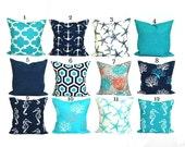 BLUE OUTDOOR PILLOWS, Pillow Cover, Decorative Pillow, Solid Navy Pillow, Aqua Pillows, Outdoor Pillow, Outdoor Pillow Covers, Beach Decor