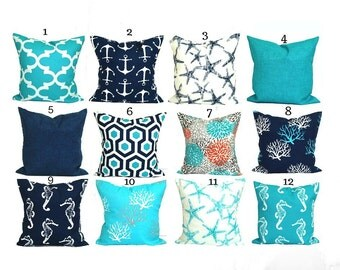 BLUE OUTDOOR PILLOWS, Blue Pillow Cover, Blue Decorative Pillow, Solid Navy  Pillow,