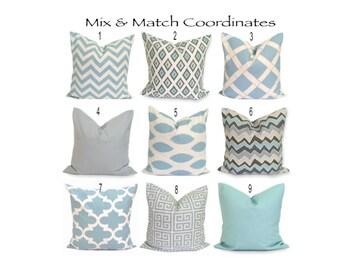 DECORATIVE Pillows.ALL SIZES.Housewares.Home Decor.Blue.Gray.Flower.CrissCross.Ikat.ZigZag.Housewares.Solid.Gray Pillow Cover.Cushion Cover