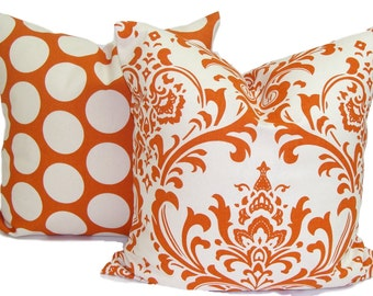PILLOW SET.18x18 inch..Burnt Orange Pillow Cover.Decorative Pillows.Damask .Polka Dot.Sweet Potato.Toss Pillows.Throw Cushion.Polka Dots.Cm