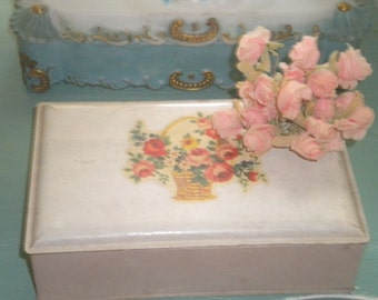 Lovely Vintage Tin with Basket of Roses, Storage ,Collectible,Cottage Chic, Shabby Chic