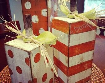 Pumpkin blocks, block pumpkins, wood pumpkins, fall decor, pumpkins, harvest decor, wood blocks, pumpkin decor