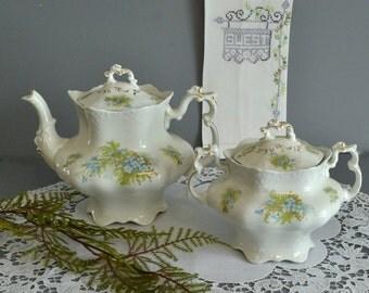 English Flowered Tea Pot Forget Me Not Teapot Fern Teapot Teapot Gift Set Johnson Brothers Teapot Fern China Antique Blue Teapot