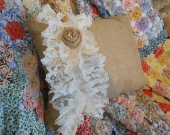 Handmade Pillow, Burlap Pillow, Decorative Pillow, Eyelet Lace, Burlap Rose, Throw Pillow, Accent Pillow, Chair Pillow, Cottage Chic Pillow