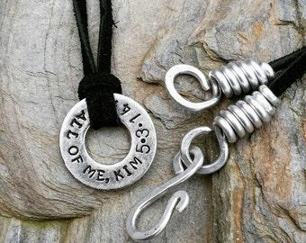personalized washer necklace, custom washer necklace, stamped washer, personalised washer
