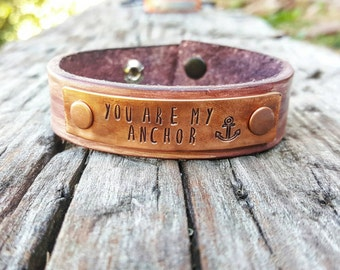 custom leather cuff, anchor bracelet, leather anchor bracelet, anchor cuff, personalized leather bracelet, you are my anchor, stamped cuff