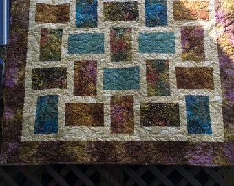 Homemade quilt, Batik quilt, Bear quilt, Blanket and throws
