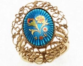 Vintage 14k yellow gold Blue Enamel Flower Filigree Ring Large Estate Multicolor