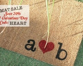 LARGE COIR  Hearts & Initials DOORMAT …  Personalized ... Hand Painted with Your Initials
