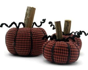 Halloween Pumpkins, Houndstooth Fabric Pumpkins, Halloween Decor, Pumpkin Decor, Thanksgiving Decor, Fall Decor, Rustic Halloween Decor