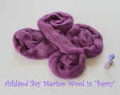 Dyed Merino Top from Ashland Bay - 2 oz of 21.5 Micron Combed Top for Spinning or Felting in Berry - Purple Merino Top/Merino Roving