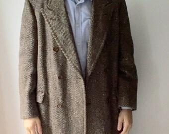 Italian Davide Cenci Men's Wool Trench Coat, Herringbone Weave, 1970s Cool