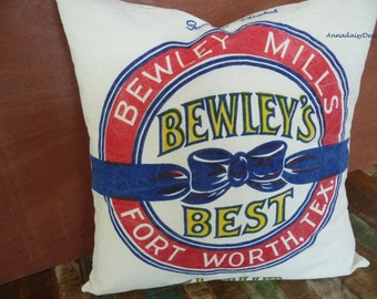 Bewley's Best Flour Sack Pillow Cover, Reproduction Feedsack Pillow Cover, Grain Sack Style Pillow Cover, Rustic Farmhouse Chic Decor