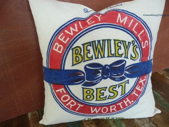 Bewley's Best Flour Sack Pillow Cover, Reproduction Feedsack Pillow Cover, Grain Sack Style Pillow Cover, Rustic Farmhouse Chic Decor