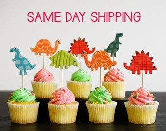24 Dinosaur cupcake toppers dinsaur cake toppers food picks double sided