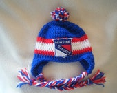 Crocheted New York Rangers Inspired or (Choose your team) Baby Beanie/Hat - Made to Order - Handmade by Me