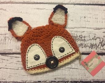 Kit the fox hat crochet hat