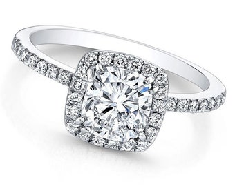 GIA Certified Cushion Cut Diamond Engagement Ring 2.00ctw Pave Set 14K Gold