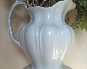 Antique Ironstone Pitcher Johnson Bros Ironstone Pitcher Large Ironstone Pitcher Johnson Brothers Pitcher