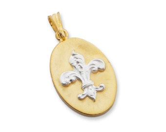 Fleur De Lys Pendant Gold Plated Sterling Silver 925