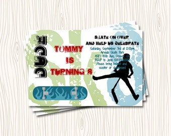 Scooter Skateboard or Skate Birthday Party Invitation Card   - You Print