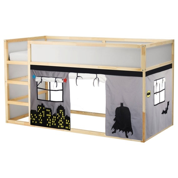 batman lit playhouse lit tente loft rideau de lit by creativeplayshop etsy. Black Bedroom Furniture Sets. Home Design Ideas