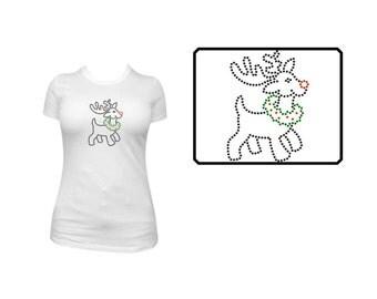 Rhinestone Shirt or Transfer- Reindeer