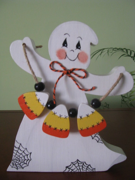 Ghost, halloween, candy corn, shelf sitter, decoration, holidays