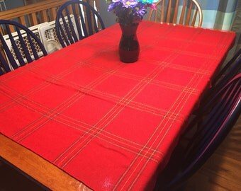 Vintage Red Plaid Christmas or Holiday tablecloth for housewares, home decor by MarlenesAttic
