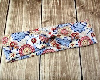 Custom Cotton Jersey Headband for Women, Seamless Twist, Retro Vintage Floral Leaf