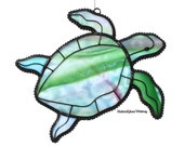 Stained Glass SEA TURTLE - Greens, Raspberry Pinks, White, Sky Blue - USA Handmade Original Design