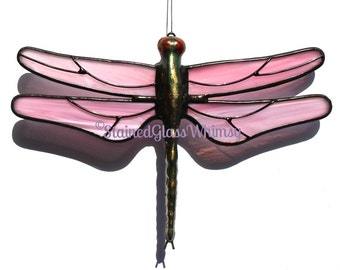 Stained Glass DRAGONFLY Suncatcher - Wispy Pinks and White, Hand-Cast Metal Body, USA Handmade, Pink Dragonfly, Pink Firefly, Stained Glass