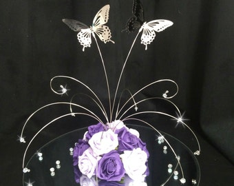 Crystal butterfly fountain wedding table centrepiece