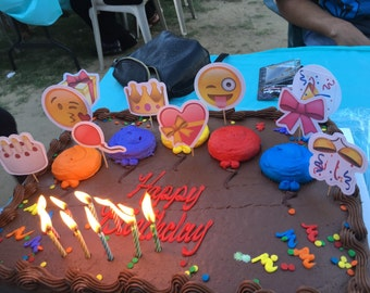 Emoji cupcake or cake toppers