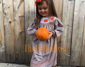 New Penelope Pumpkin Smocked Scalloped Dress