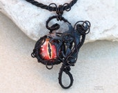 RESERVED - Red Dragon eye pendant/Wire wrapped pendant/Dragon necklace/Black necklace/statement/gift for girlfriend/medieval pendant