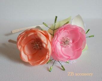 Girls headbands, flower headband wedding, bridesmaids hair accessories, flower girls gift, pink and peach flower headband, Christmas gift