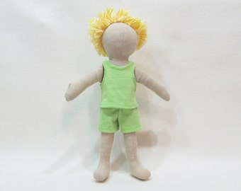 "SALE 11""  Eco friendly soft hemp linen doll with yellow cotton hair and a lime green up cycled cotton knit outfit baby safe"