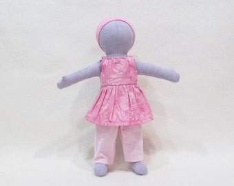 """SALE 11"""" Lavender Eco friendly soft hemp linen doll with batik pink flower sundress outfit   machine washable and baby safe"""