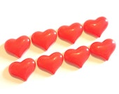 Eight Red Heart Resin Cabochons
