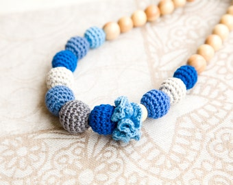 Blue Teething Necklace - Nursing necklace - mommy necklace - SALE