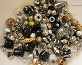 destash of recycled small tiny beads//black silver tone gold tone clear//metal glass--mixed lot of 100+