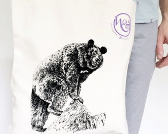 Jungle Bear Canvas Tote Bag