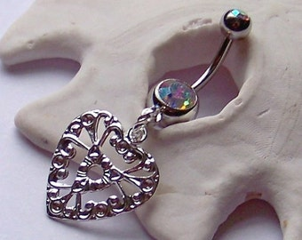 SALE Belly Button Ring - Body Piercing - Navel Piercing - Bellly Ring Filigree Heart Silver Pendant on Gemmed Barbell Choose Your Color