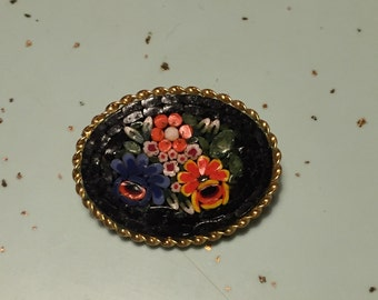 Vintage Italian Mosaic Brooch Black Floral Gold Setting Glass Beads