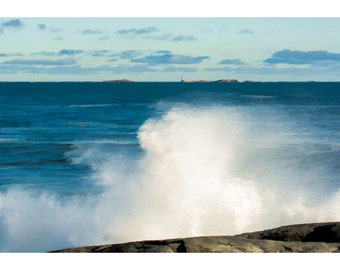 Waves and Lighthouse Seascape Photo Art Print