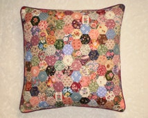 Patchwork Cushion Cover - Hexagons in Laura Ashley and other vintage fabrics