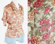 Vintage 1980's Pink Floral Secretary Blouse - Short Sleeve Button up Summer Top - Ladies Size Medium