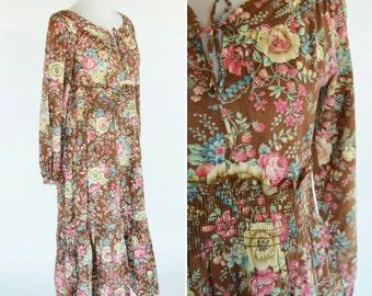 Vintage 1970's Brown Floral Boho Dress - Hippy Smocked waist Dress - Prairie Folk Dress - Ladies Size Medium